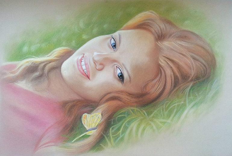 Настоящий портрет пастелью для любимой девушки в Иркутске, просто и со вкусом!