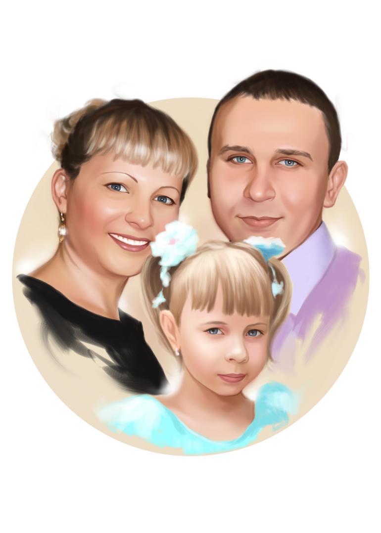 Семейный портрет по фото на холсте в Иркутске — правильный подарок!